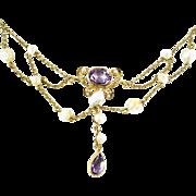 Art Nouveau Amethyst Pearl 14k Gold Festoon Necklace