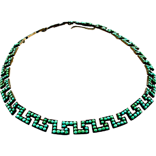 Antique Turquoise Greek Key Gilt Silver Collar Choker Necklace