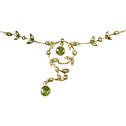 Antique Art Nouveau Peridot Seed Pearl 14k Yellow Gold Necklace Lavaliere