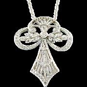 Antique Belle Epoque Diamond Platinum Lavaliere Pendant