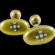 Antique Opal Pearl 10k Gold Cufflinks