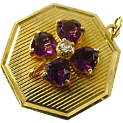 Amethyst Diamond 14k Gold Charm Pendant--4 Leaf Clover
