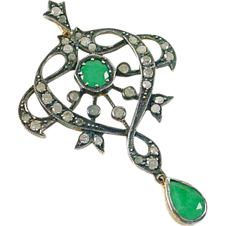 Vintage Emerald Rose Cut Diamond Lavaliere Pendant