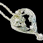 Lyrical Diamond Openwork Heart 14kt White Gold Pendant Necklace