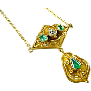 Antique Emerald Diamond 18k Yellow Gold Lavaliere Pendant Necklace
