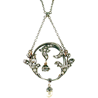 Belle Époque Edwardian Rose Diamond Silver Topped Gold Pendant Necklace