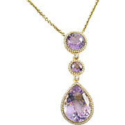 Amethyst Diamond 18k Gold Pendant