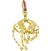 Diamond Ruby 14K Draped Panther Pendant Enhancer