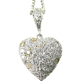 Vintage Pave Diamond Heart 14k White Gold Pendant with Chain