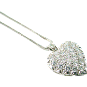 Vintage Bombe Diamond 14k White Gold Heart Pendant with Chain