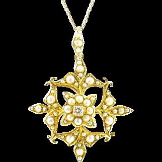 Edwardian Diamond Pearl 15ct. Gold Snowflake Pendant