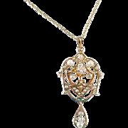 Antique Diamond Pearl 14k Gold Lavaliere Pendant Necklace