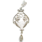 Antique Edwardian Mine Cut Diamond Platinum Top Lavaliere Pendant
