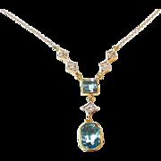 Antique Edwardian Aquamarine Diamond Platinum 14kt Gold Necklace