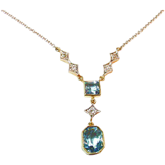 Antique Edwardian Aquamarine Diamond Platinum 14kt Gold Necklace