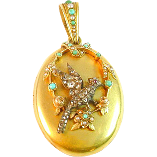 Victorian Diamond Turquoise Bird Motif 18k Locket Pendant