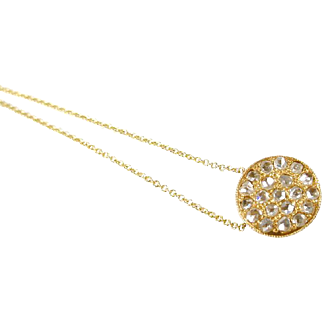 Sweet Rose Cut Diamond 14k Gold Pendant and Chain