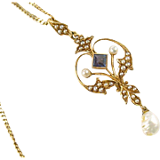 Victorian Seed Pearl Sapphire 14k Gold Lavaliere Pendant