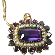 Colorful Antique Amethyst Garnet Half Pearl Pendant--Dated 1903