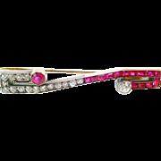 Striking Art Deco Ruby Diamond Platinum Gold Brooch