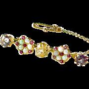 Edwardian Sapphire Opal Ruby Gem Set Gold Brooch Pin