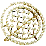Antique Edwardian Pearl 14k Gold Circle Brooch Pin-Sloan & Co.