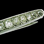 Antique French Mine-Cut Diamond 18k Gold Brooch Pin