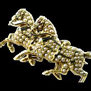Antique Pearl Black Enamel Double Horse 14k Gold Brooch