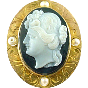 Cameo Cultured Pearl 14k Gold Pendant Brooch