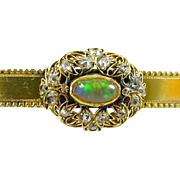 Antique Opal Diamond 18k Gold Bar Brooch
