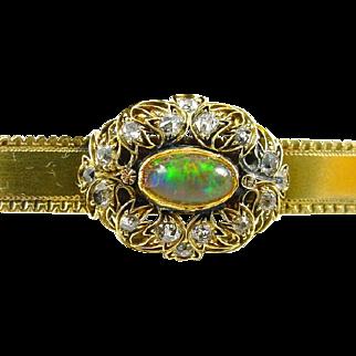 Antique Opal Diamond 18k Gold Bar Brooch