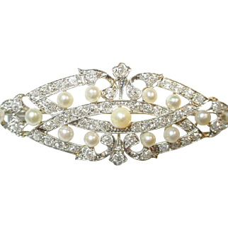 Beautiful Art Deco Diamond Akoya Pearl Platinum Brooch Pendant
