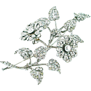 French Belle Époque Silver Paste Strasse En Tremblant Floral Brooch