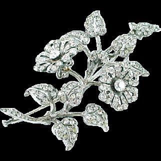 French Belle Époque Silver Paste Strasse En Tremblant Floral Brooch