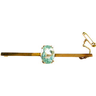 Antique Edwardian 4.00 Carat Aquamarine 15ct. Gold Bar Pin Brooch--Appraisal