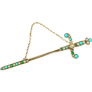 Turquoise Seed Pearl 14k Gold Jabot Sword Brooch