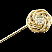 Art Deco Spiral Openwork Diamond 14k Gold Stickpin Lapel Pin Brooch