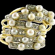 Antique Pearl Diamond Platinum 18k Gold Harem Ring