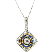 Art Deco French Sapphire Diamond Platinum Top 18k gold Pendant