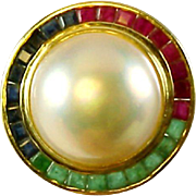 Mabe Pearl Emerald Ruby Daimond 14k Gold Ring