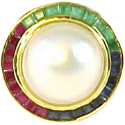 Mabe Pearl Emerald Ruby Sapphire Halo 14k Gold Ring