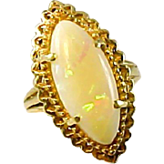 Opal Navette Marquise 14k Yellow Gold Ring
