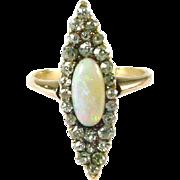 Antique Opal Diamond Navette Ring