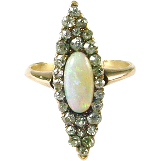Antique Opal Diamond Navette Ring