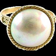Japanese Mabe Pearl 14K Yellow Gold Ring