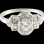 Art Deco Platinum OMC Diamond Ring