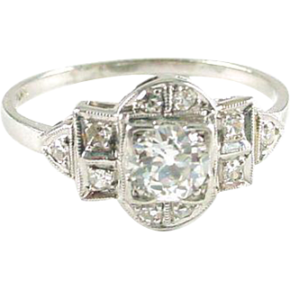 Art Deco Platinum OMC Diamond Ring
