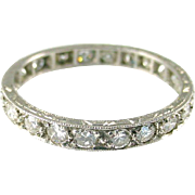 Art Deco 1.20 Ct. Diamond 18k White Gold Eternity Band Ring