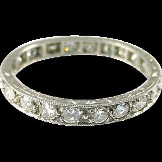 Art Deco Diamond 18k White Gold Eternity Band