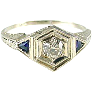 Art Deco Diamond Sapphire 18k White Gold Ring